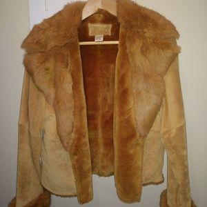 LaVee vintage fox fur & suede jacket - size S